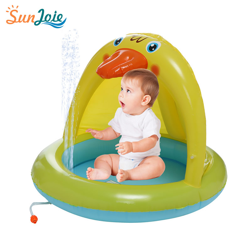 Smart Novelty Multicolour Spray Pool Of 40In Water Sprinkler Duckling Splash Pool With Canopy Baby Pool For Kids